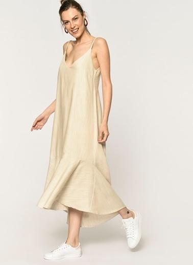 Loves You A Form Eteği Volanlı Sırtı Lastik Detaylı Askılı Elbise Bej
